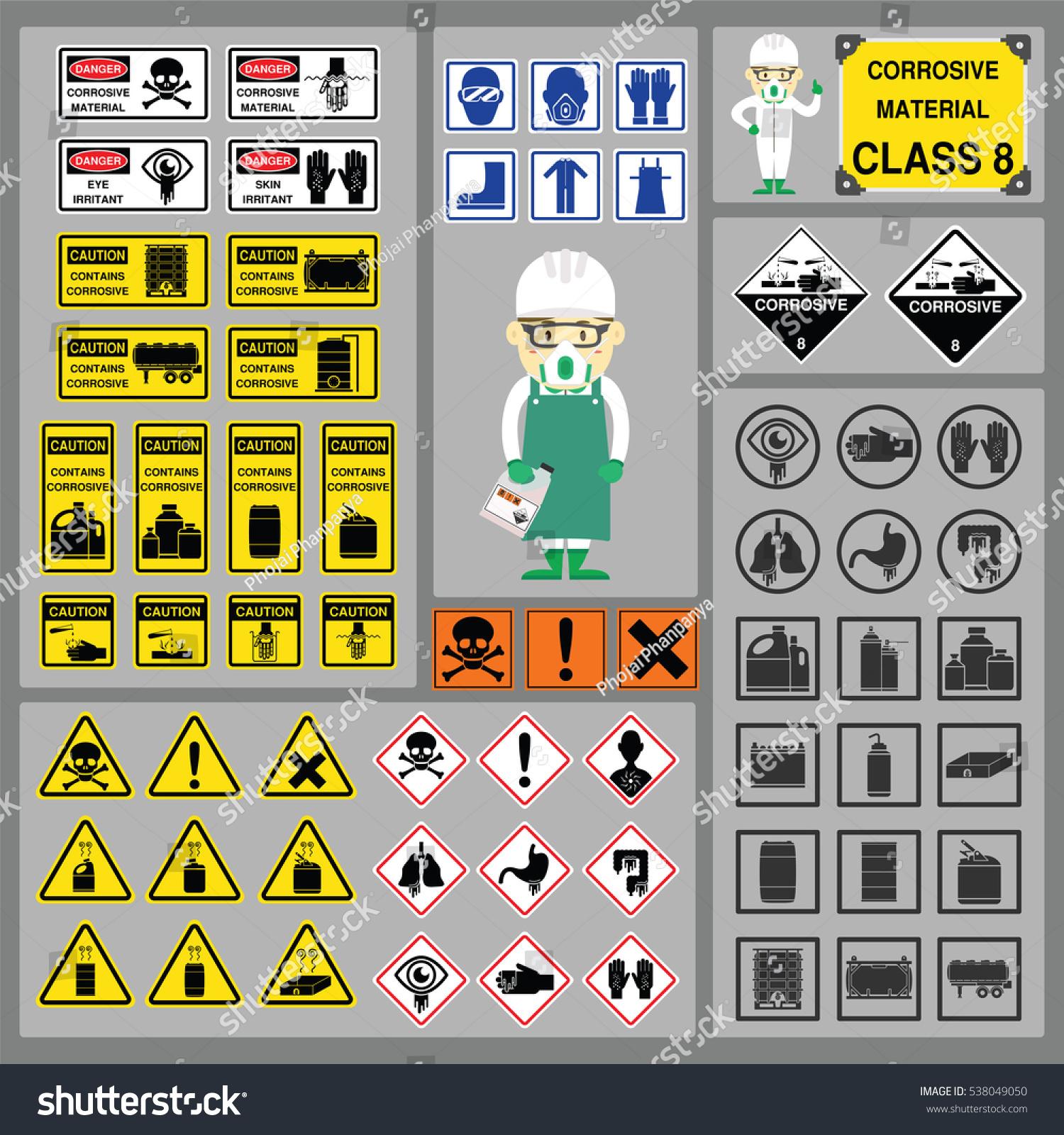 Dangerous goods hazardous materials set signs stock vector dangerous goods and hazardous materials set of signs and symbols of corrosive material class with buycottarizona Images
