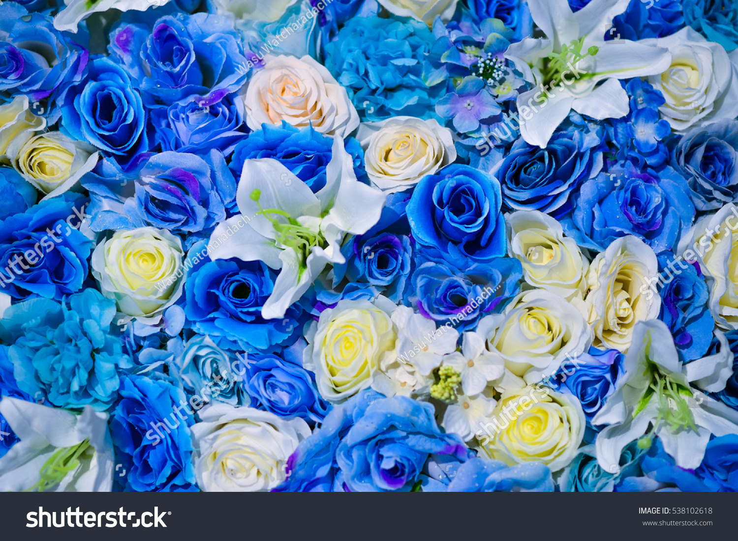 Beautiful flowers wall background blue white stock photo 538102618 beautiful flowers wall background with blue and white artificial roses dhlflorist Image collections