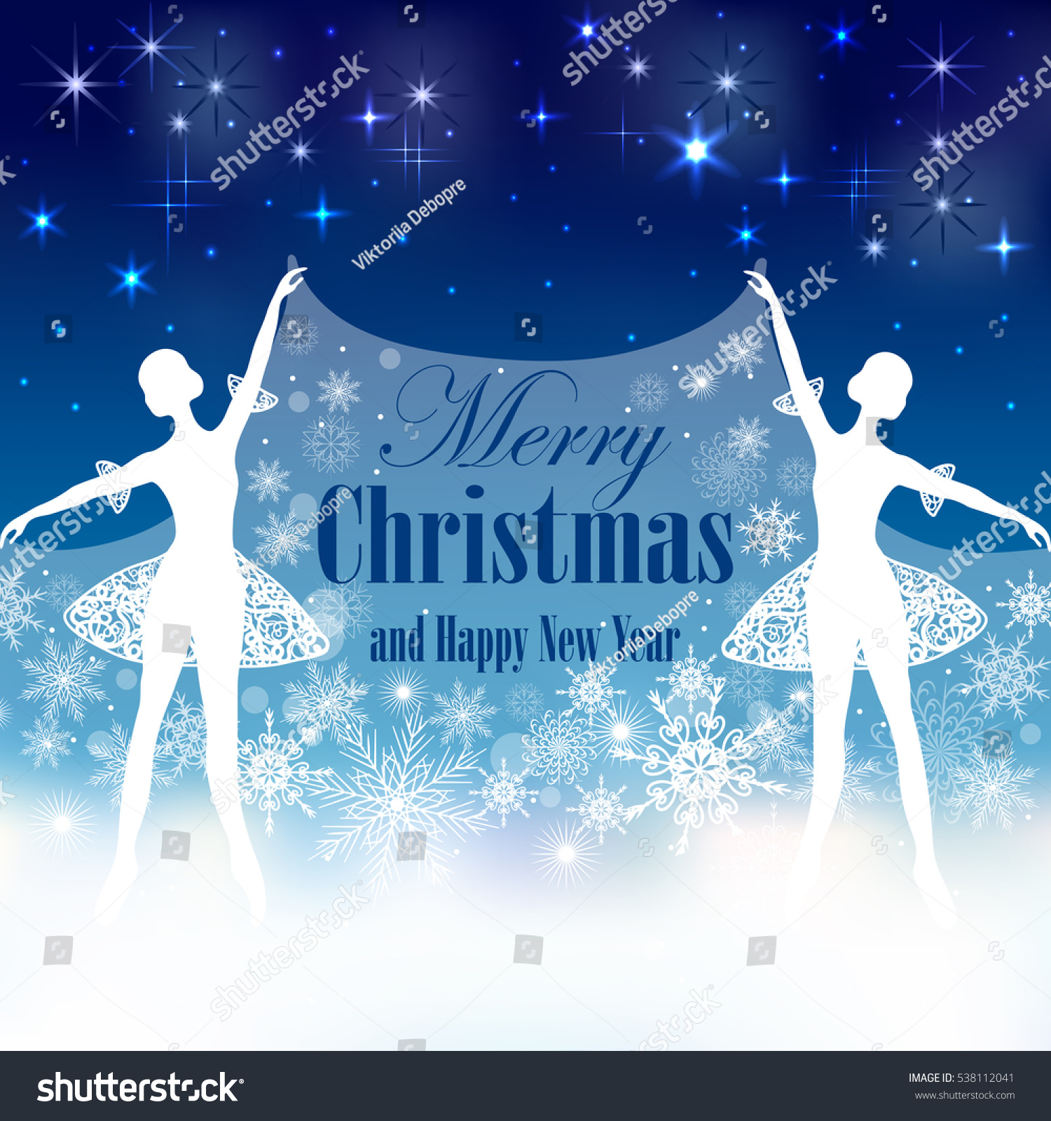 christmas and new year greeting card with tender ballerinas holding a snow cover