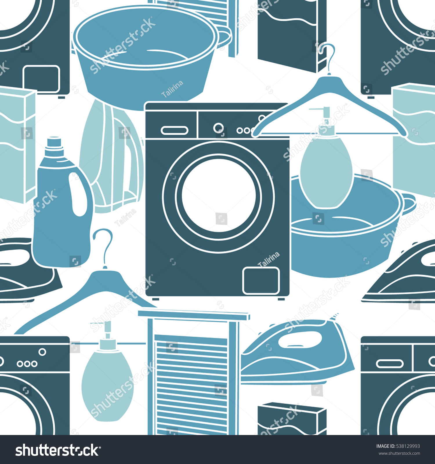 Seamless Pattern Hand Drawn Laundry Icons Stock Vector Royalty Free