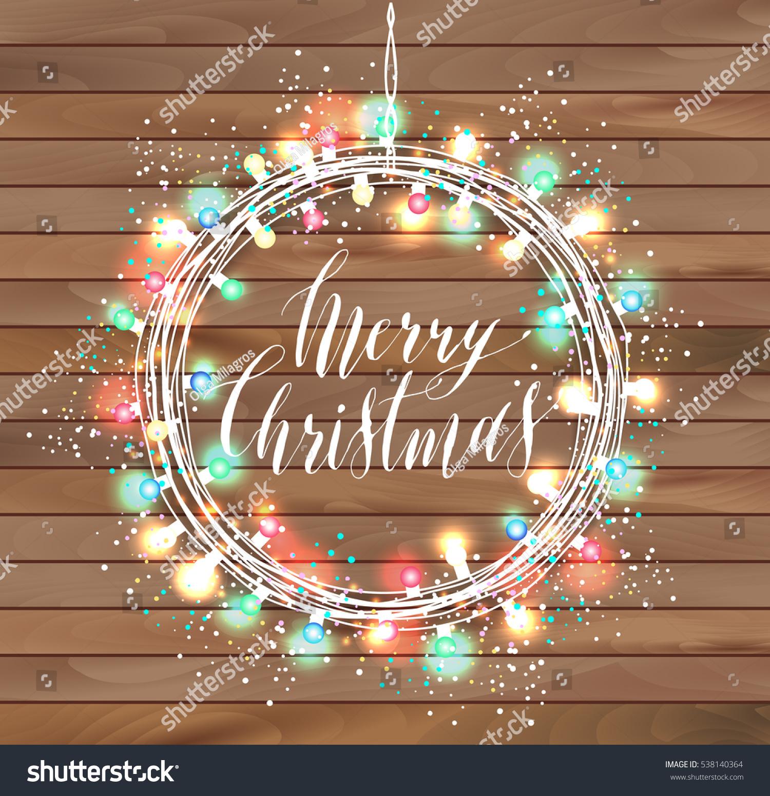 happy new year design on wooden texture wreath of bright light garlands