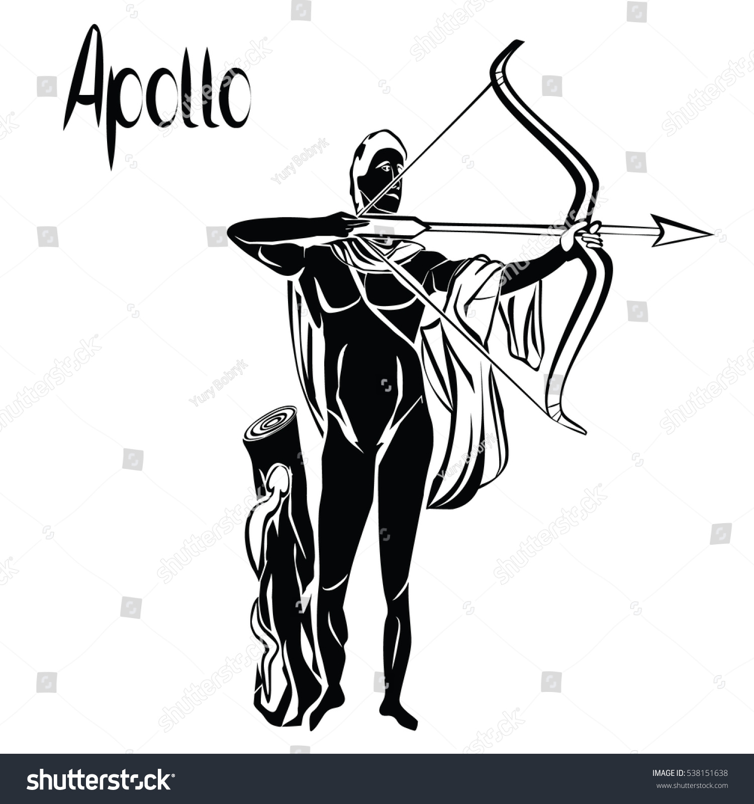 Apollo god bow arrow black vector stock vector 538151638 apollo god with bow and arrow black vector illustration isolated on a white background greek buycottarizona