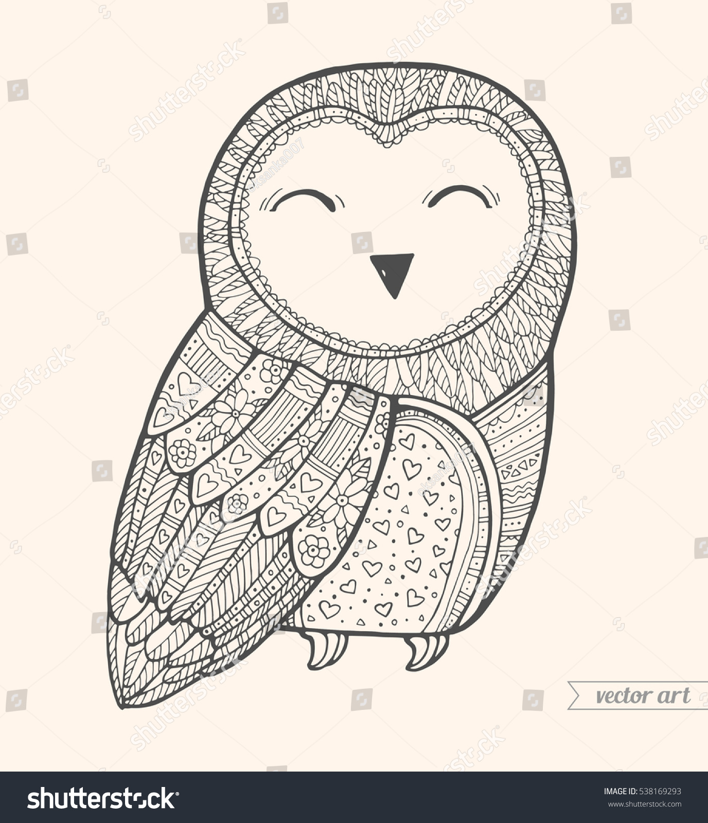 Cute Pattern Bird Vector Black White Coloring Book Page For