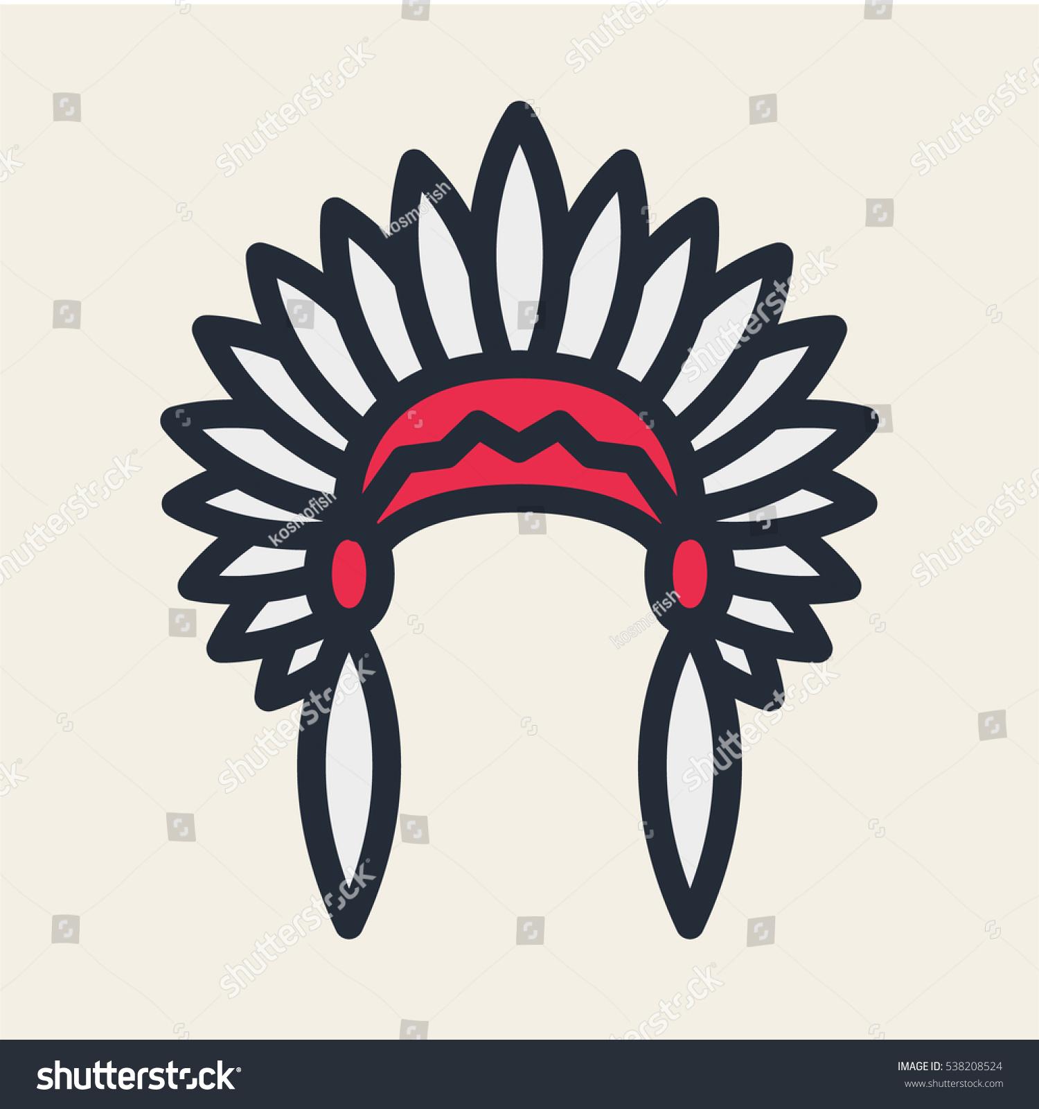 native american headdress minimal flat color stock vector