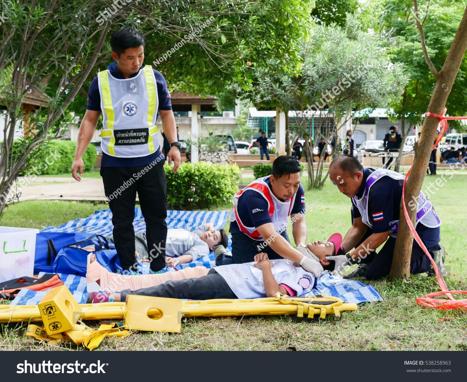 Lampang Thailand- September 16 2016 Emergency medical team practice for saving and packaging trauma patient at park in Lampang Thailand September 16 2016