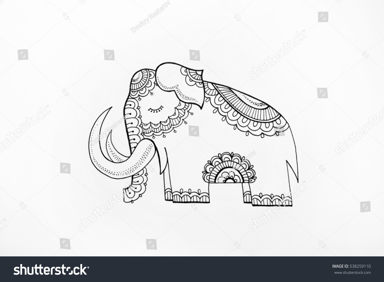 sketch elephant patterns on white background stock illustration