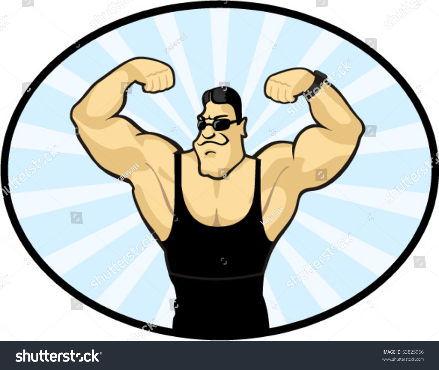 Cartoon bodybuilder stock vector 53825956 shutterstock - Cartoon body builder ...