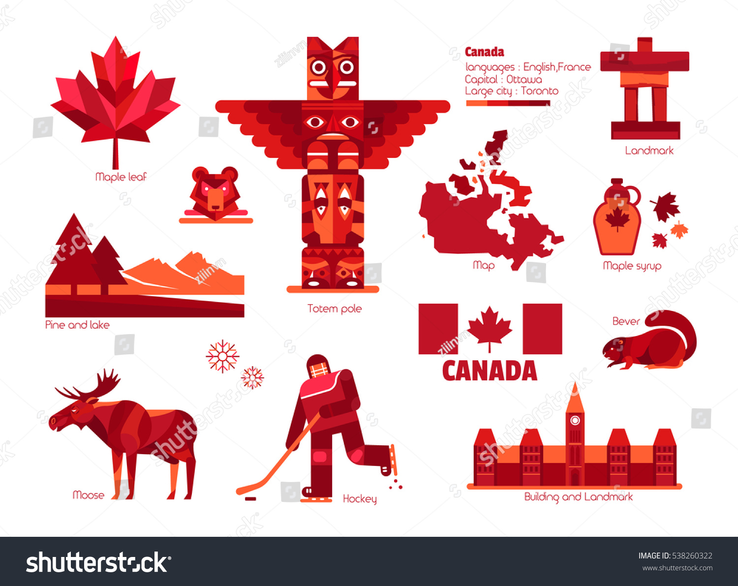 Canada Sign Symbol Infographic Elements Stock Vector ...