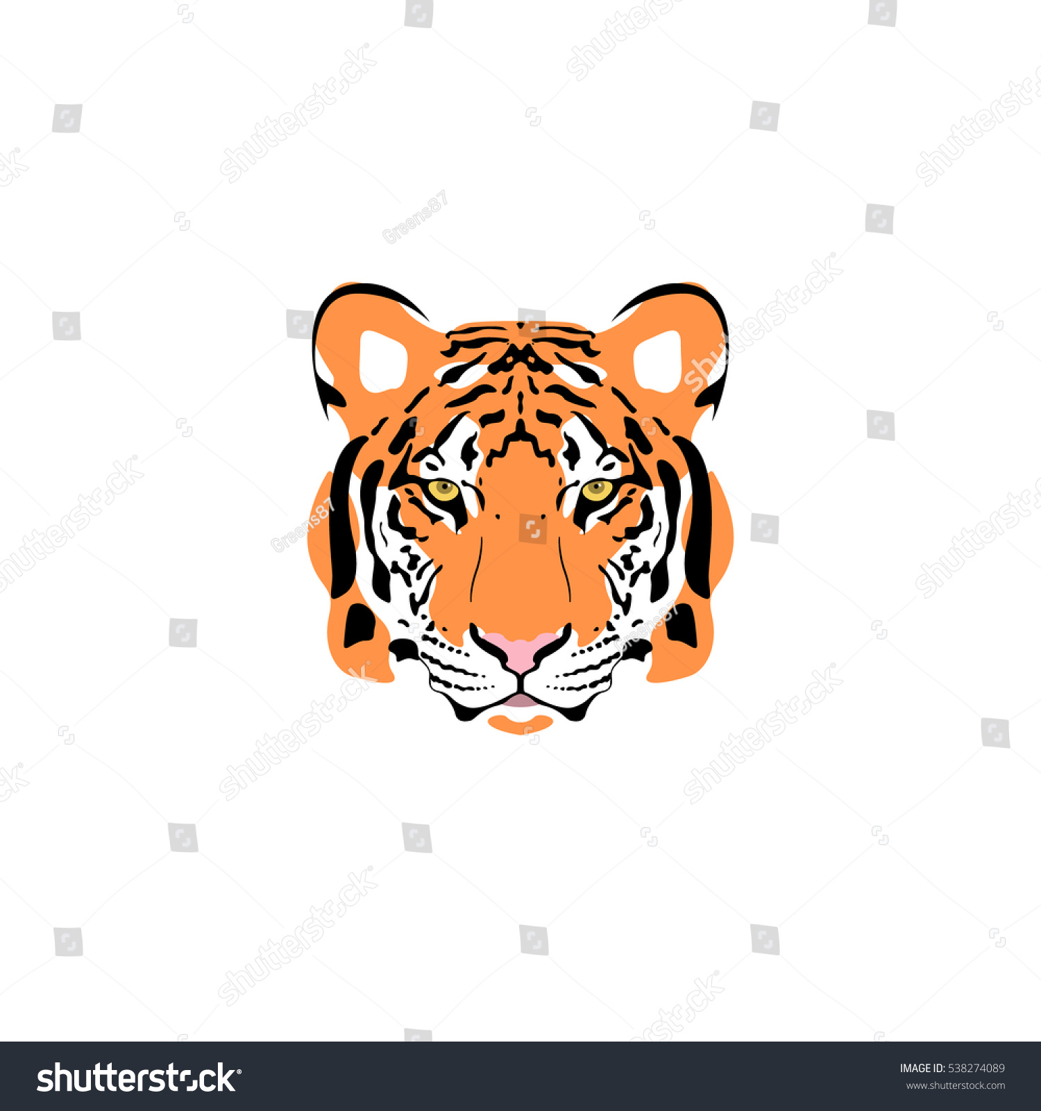 Vector Illustration Tiger Head Suitable Tattoo Stock Vector Royalty