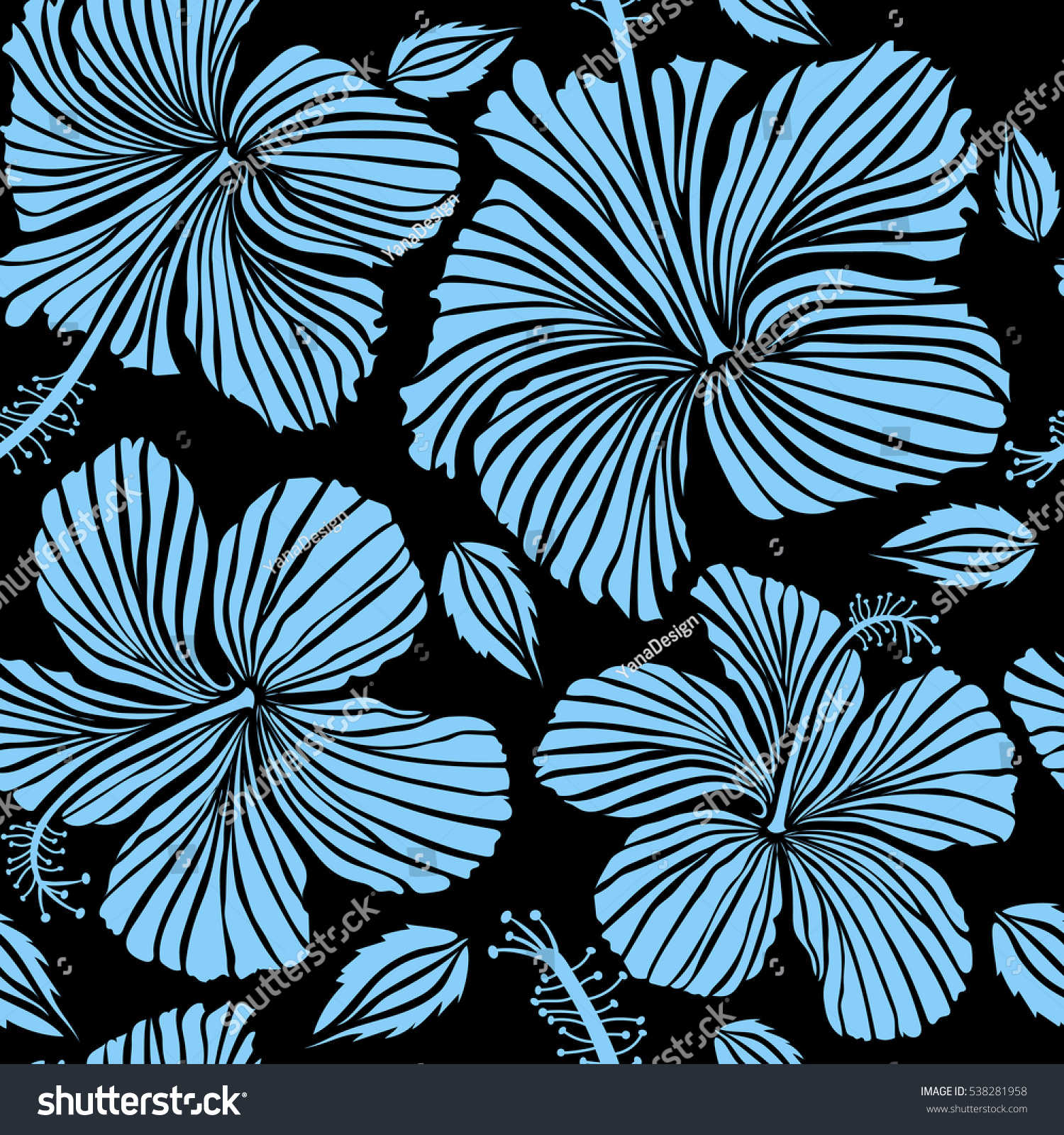 Hibiscus flower blue colors on black stock illustration 538281958 hibiscus flower in blue colors on a black background izmirmasajfo