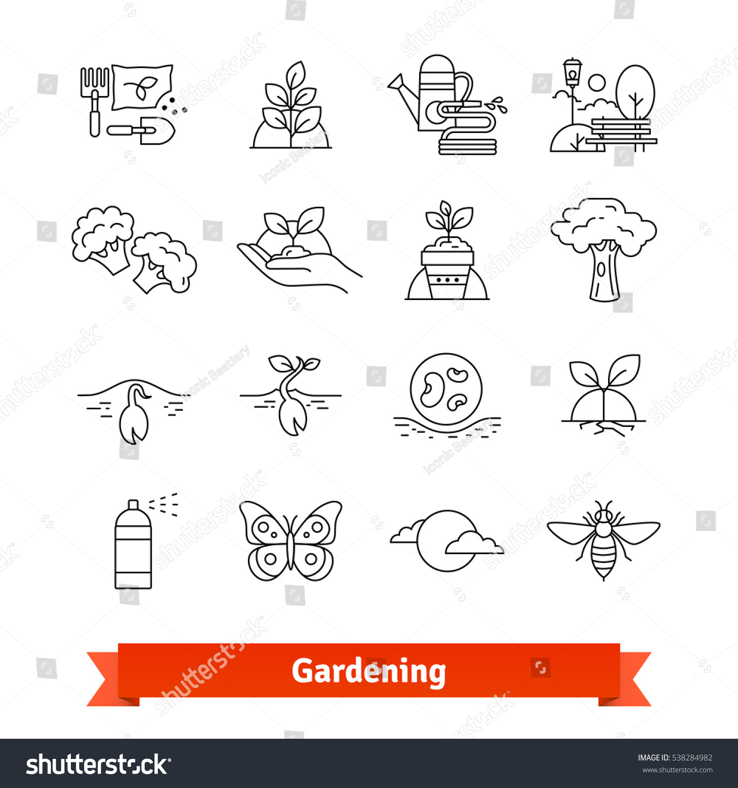 Gardening Horticulture Thin Line Art Icons Stock Vector Royalty