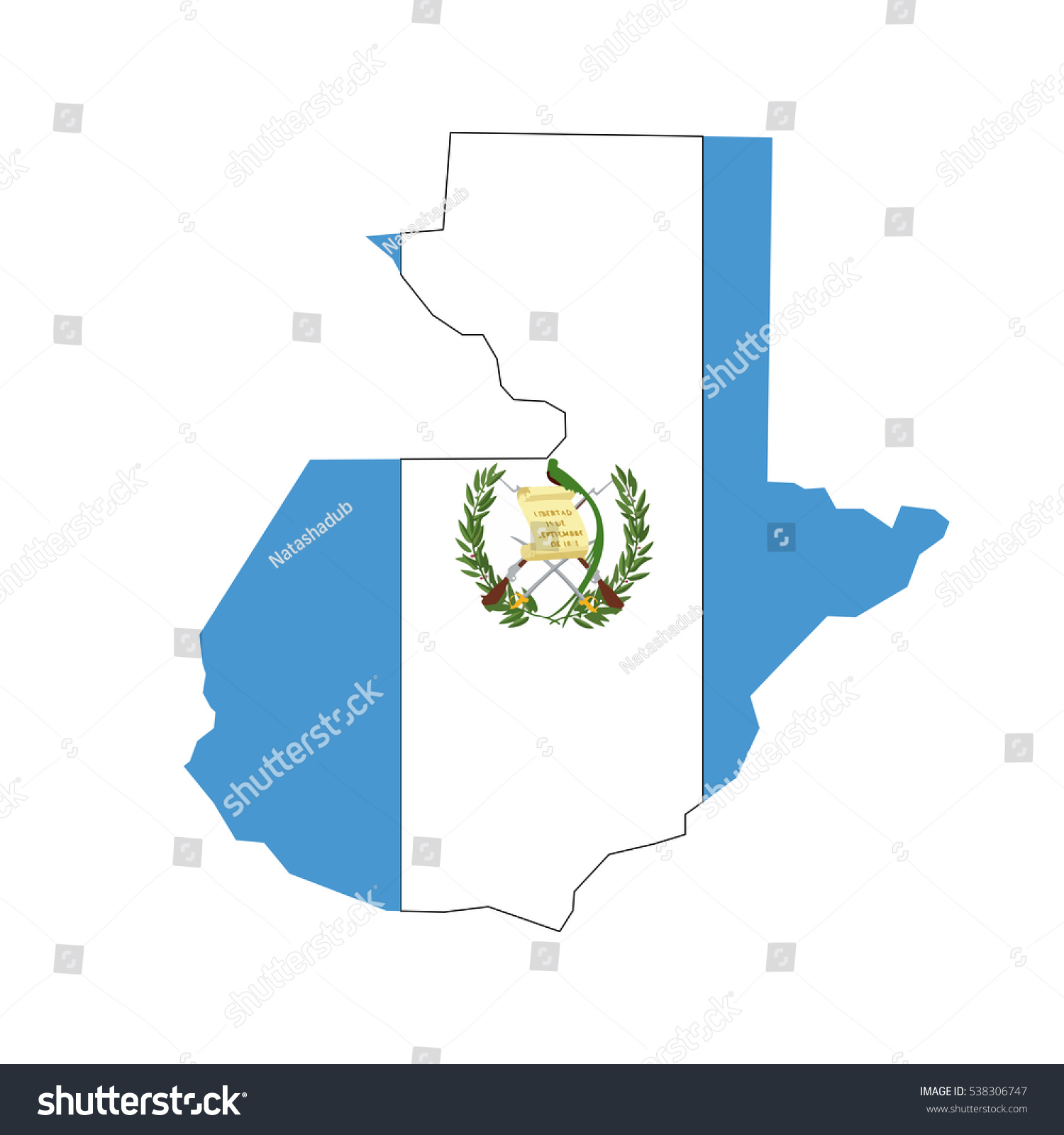 guatemala map flag white background stock vector