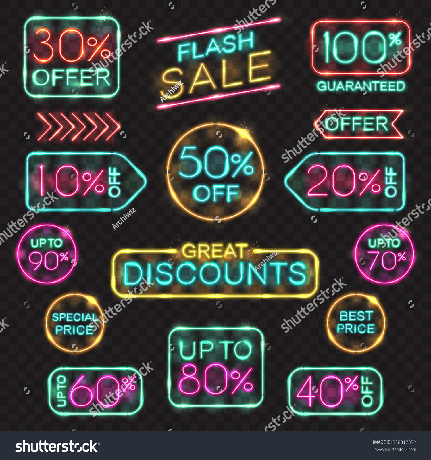 Neon Signs Set Vector Price Tags Stock Vector 538312372