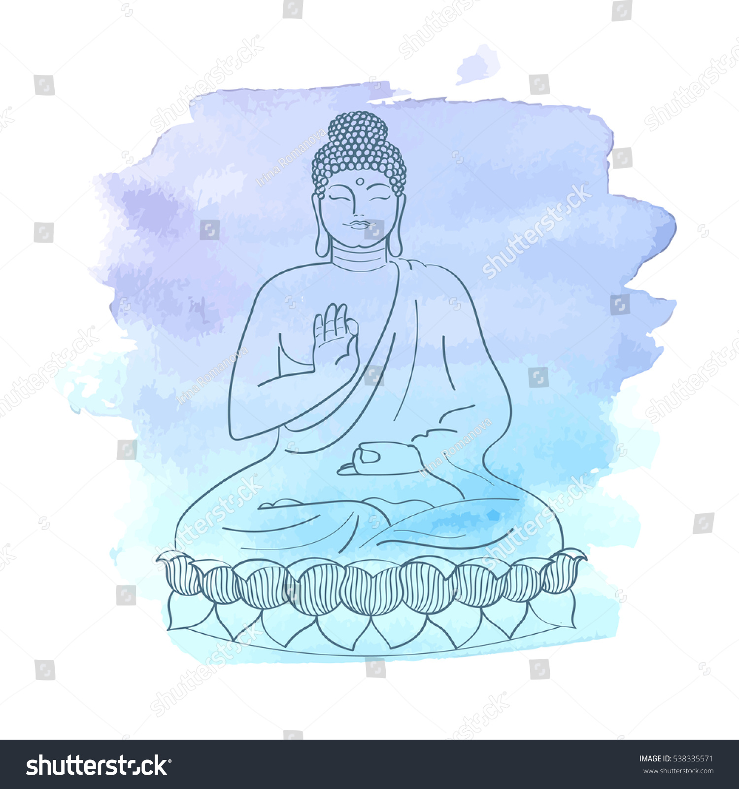 Sitting Buddha On Lotus Flower Watercolor Stock Vector Royalty Free
