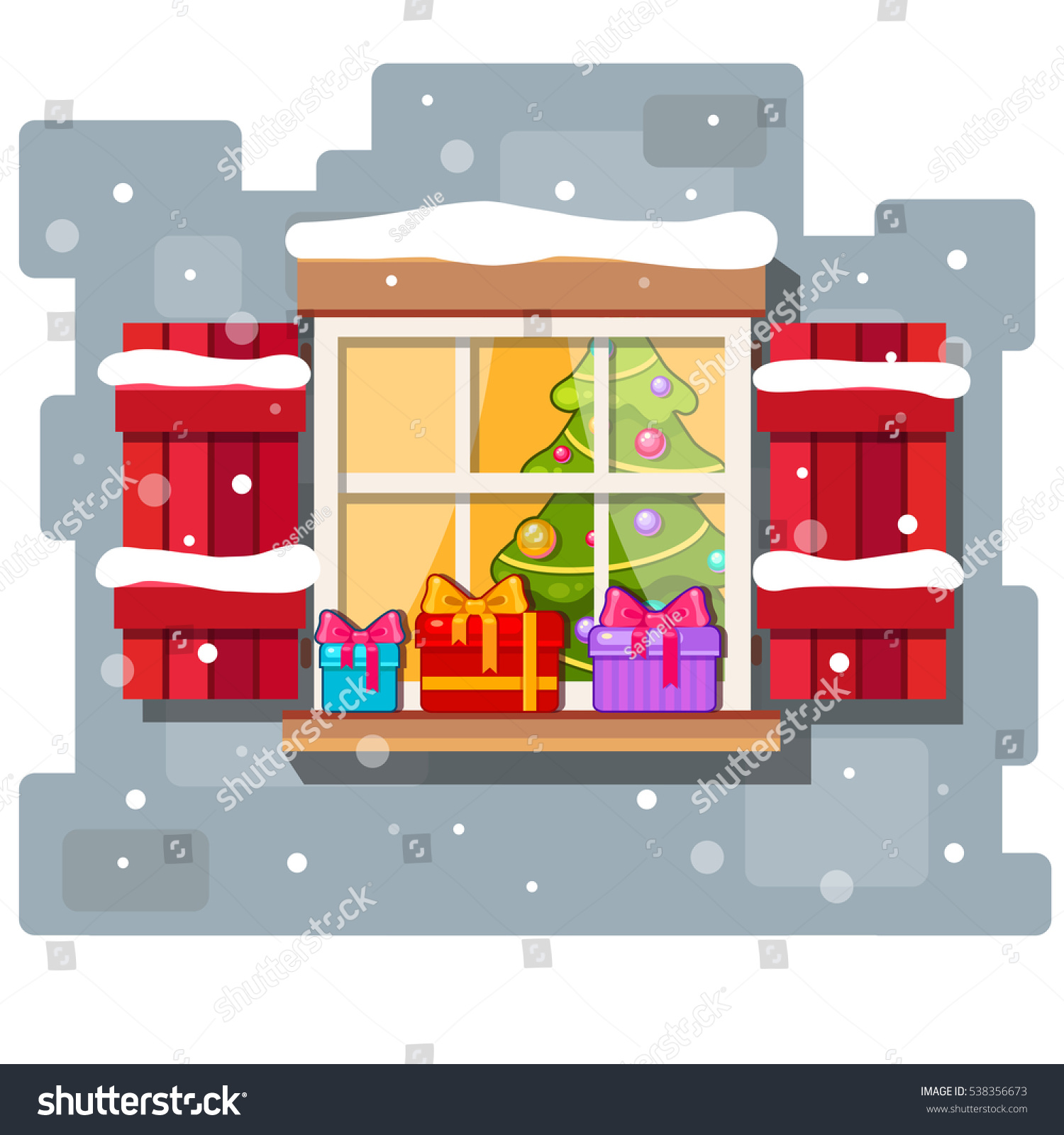 Cartoon kitchen with cabinets and window vector art illustration -  Vectors Illustrations Footage Music Vector Christmas Window With Red Shutters Presents And A New Year Tree Inside Cartoon