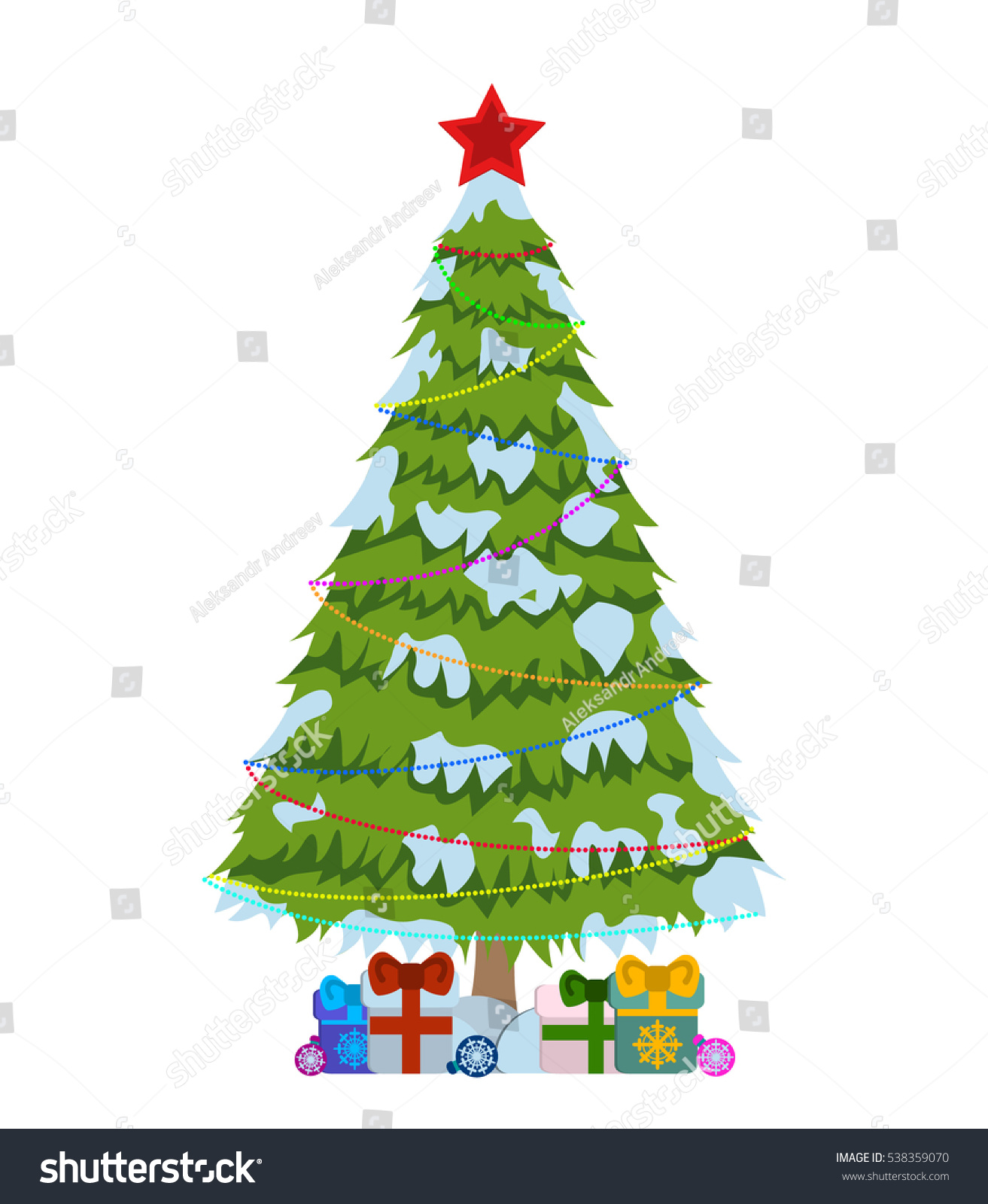 Merry Christmas Tree Sign On White Stock Vector (2018) 538359070 ...