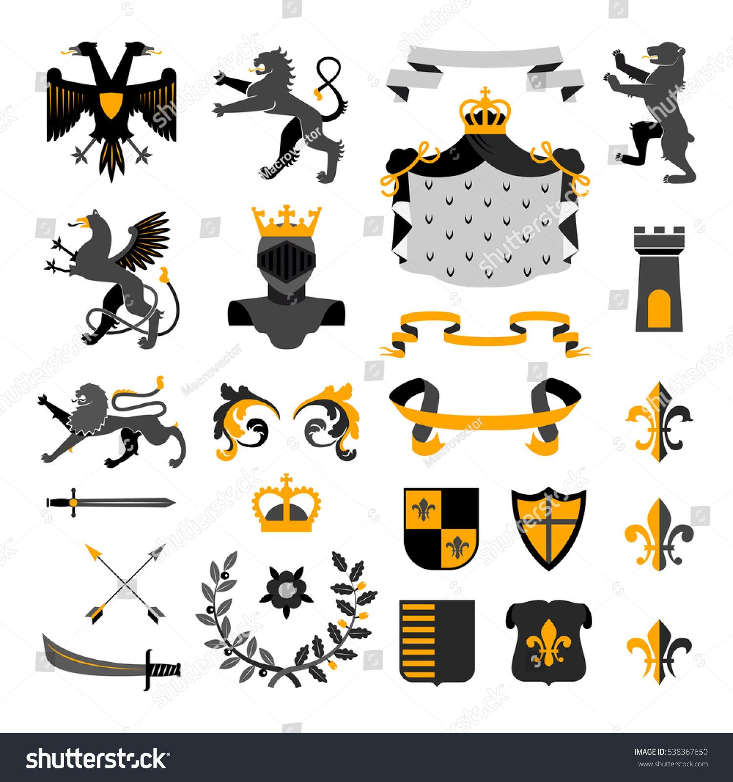 Heraldic Royal Symbols Emblems Design Coat Stock Illustration