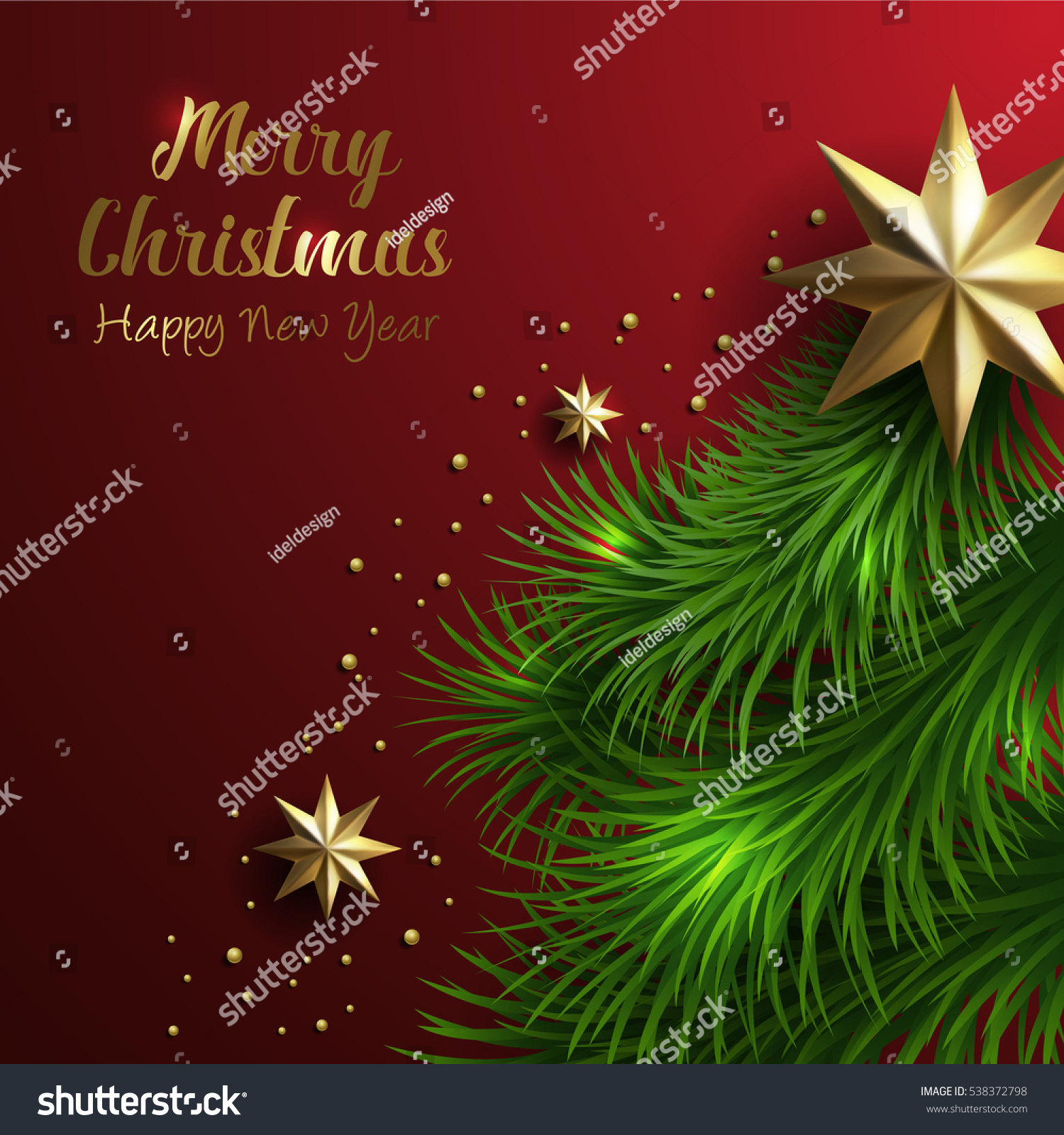 Vector merry christmas happy new year stock vector 538372798 vector merry christmas and happy new year greeting card label decorated gold foil stars with free m4hsunfo