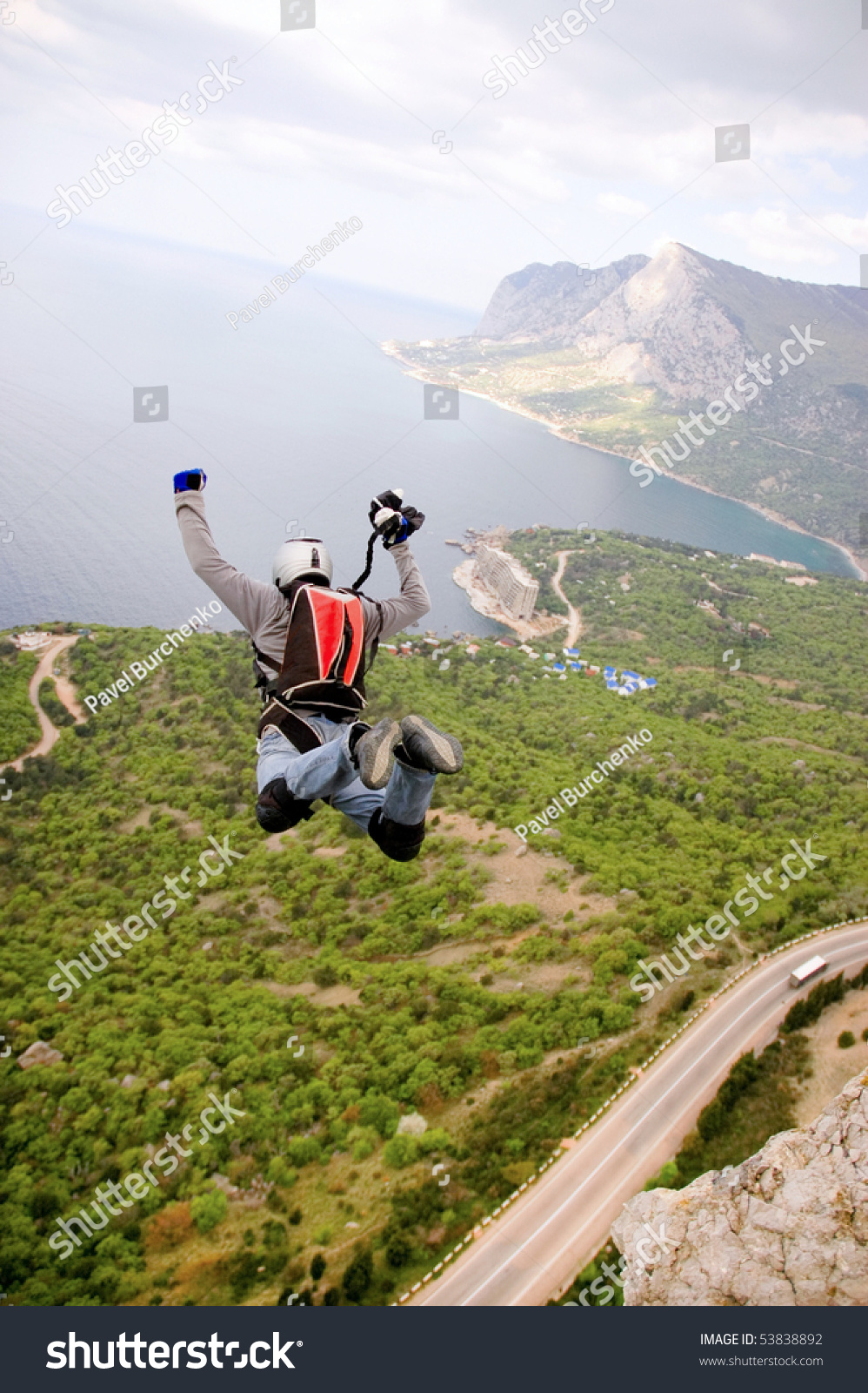 BASE Jump Off Cliff Stock Photo (Edit Now) 53838892