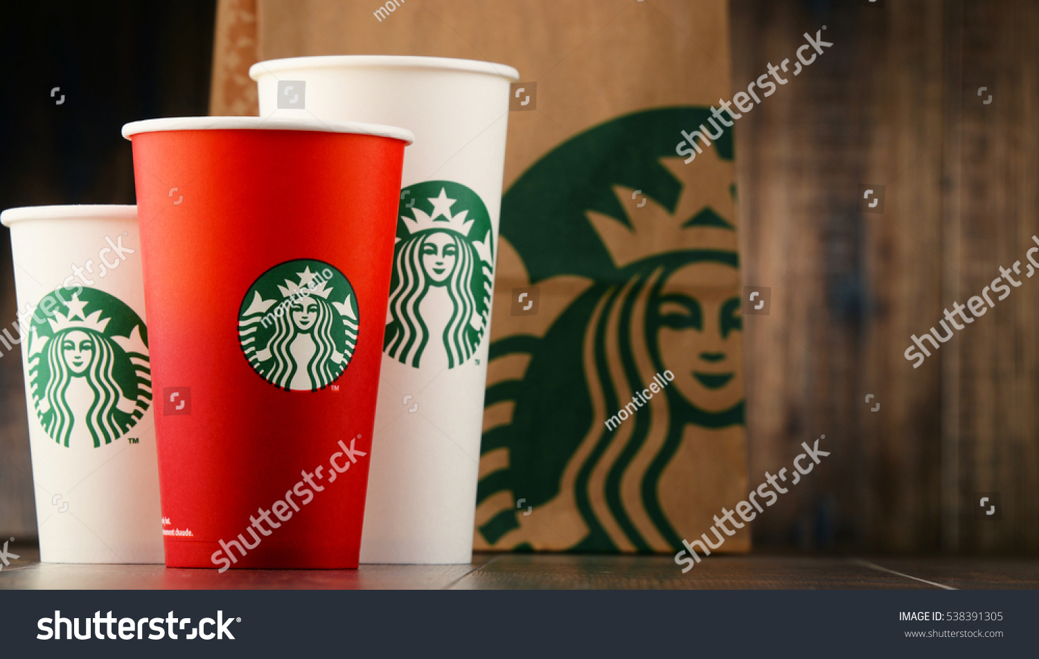 POZNAN POLAND DEC 15 2016 Starbucks coffee company and coffeehouse chain founded in Seattle Wa USA in 1971 now the largest business of this kind in the world operates 23 450 locations