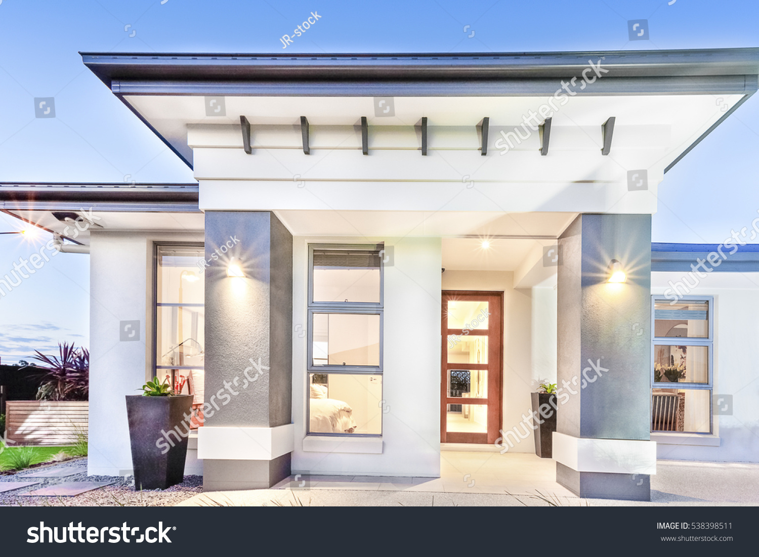 Modern House Front Close Doors Windows Stock Photo (Royalty Free ...