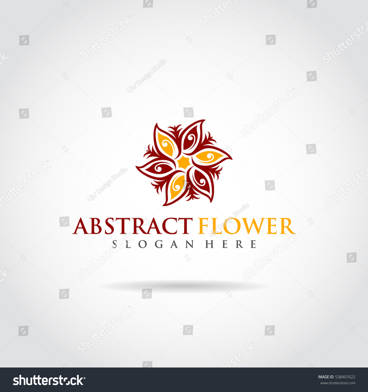 Red Yellow Flower Logo Vector Abstract Stock Vector 538407622