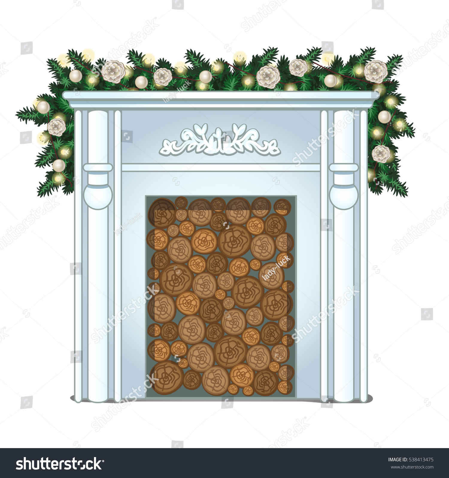 Stack Wood False Fireplace Without Fire Stock Vector Royalty Free