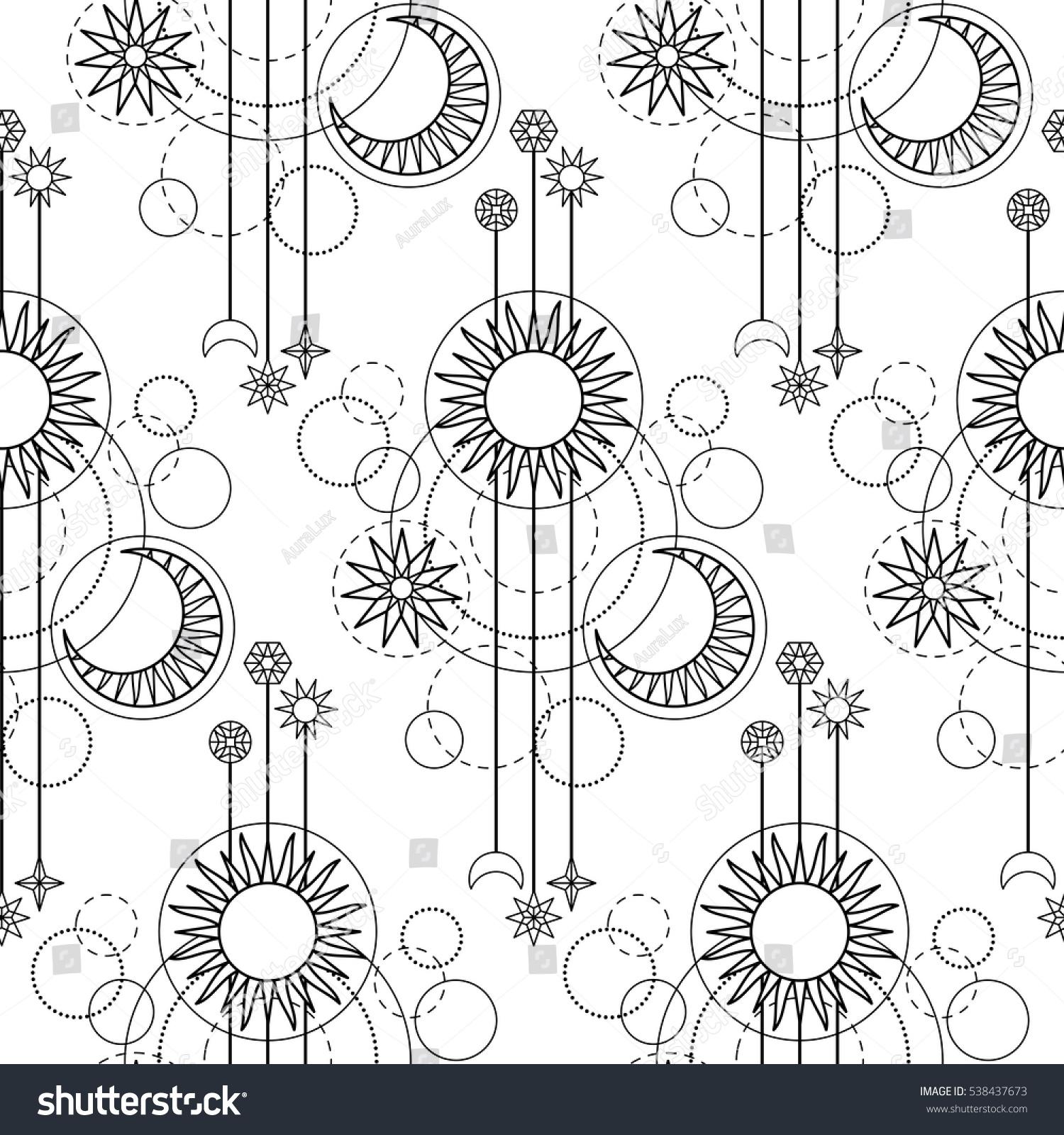 abstract seamless pattern sun moon star stock vector 538437673