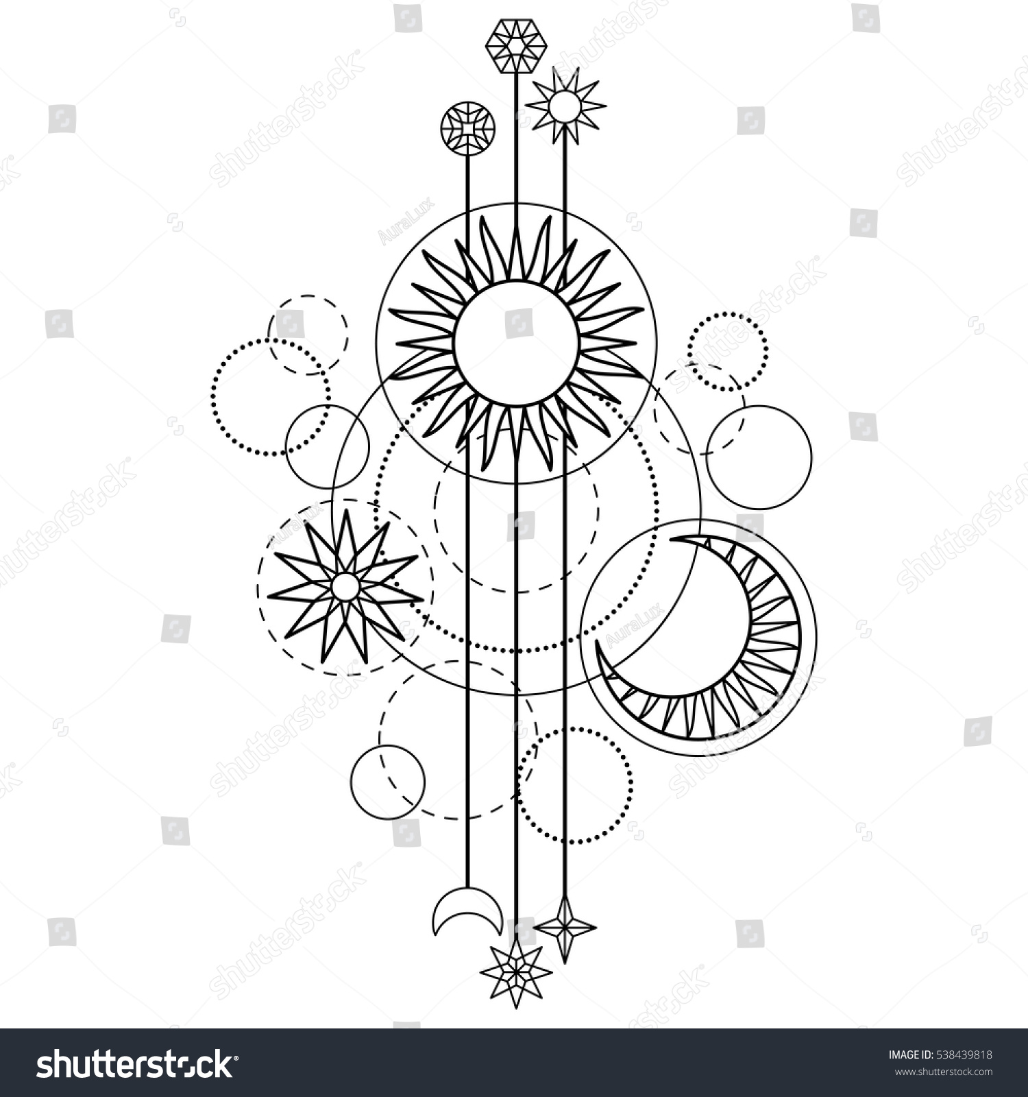 abstract pattern sun moon star geometric stock vector 538439818