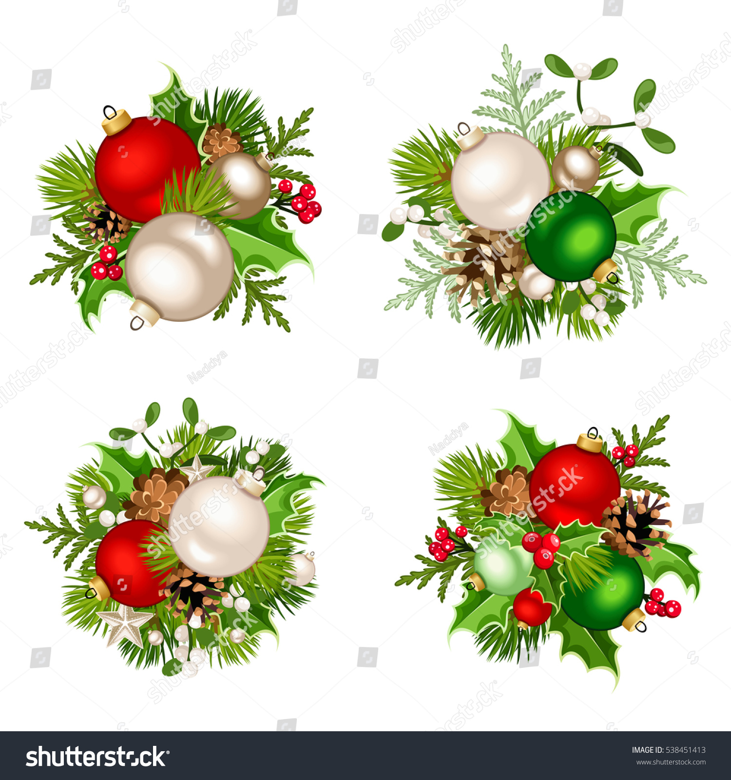 Set four vector christmas decorations red stock vector for Fir cone christmas tree decorations