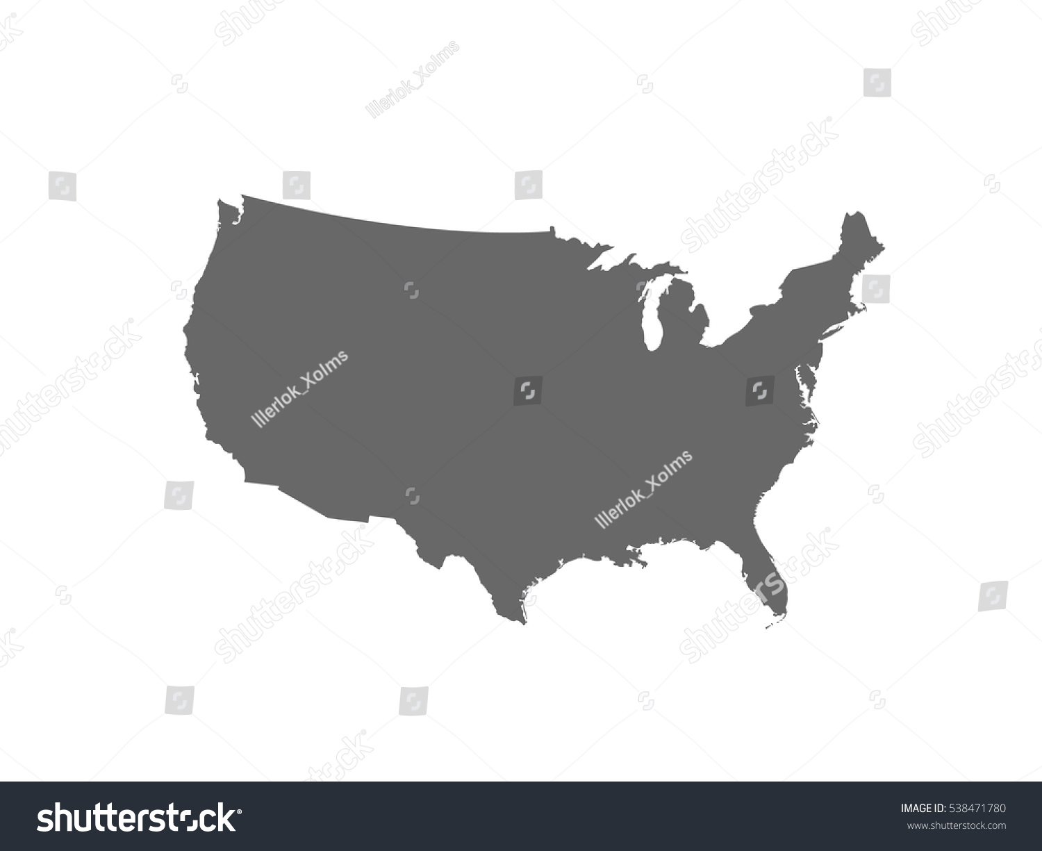 Blank Similar Usa Map Isolated On Stock Vector - Blank us map template