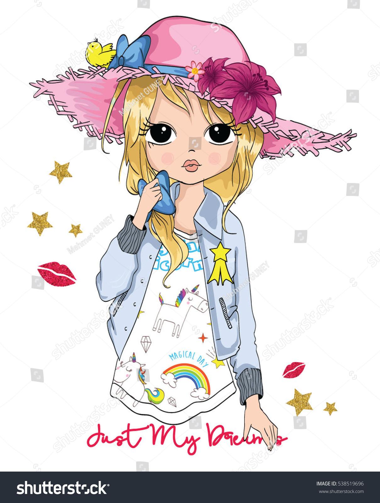 Cute Girl Tshirt Print Book Illustrations Stock Vector 538519696 ...