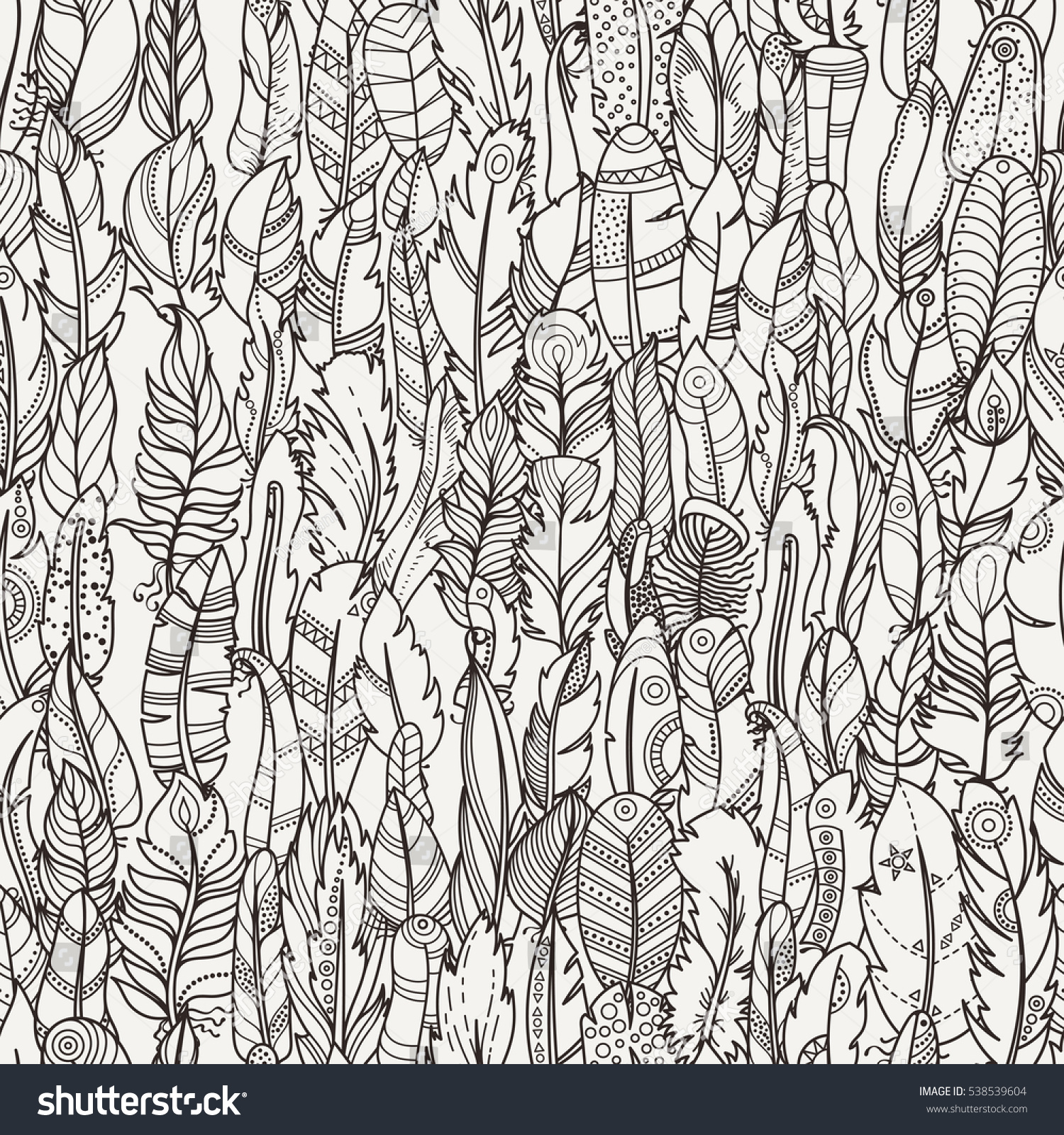Romantic vector seamless background greeting card wallpaper vector art - Seamless Pattern With Random Fantasy Feathers Vector Illustration For Wallpaper Web Page Background