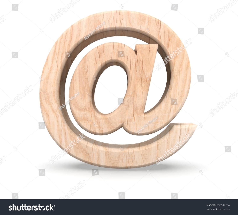 Alphabet Black Wooden Texture Email Mark Stock Illustration