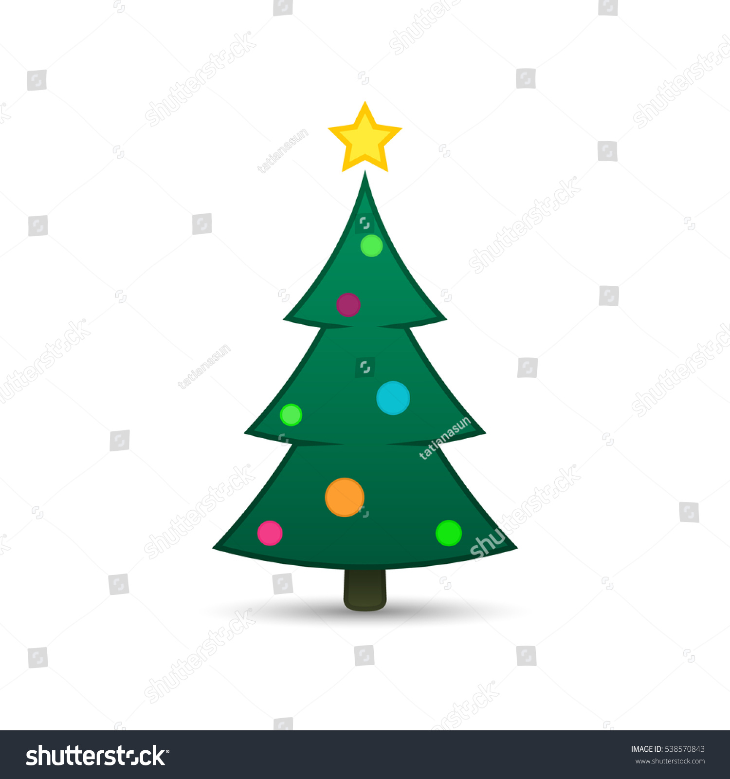 Christmas tree color green icon with balls vector design