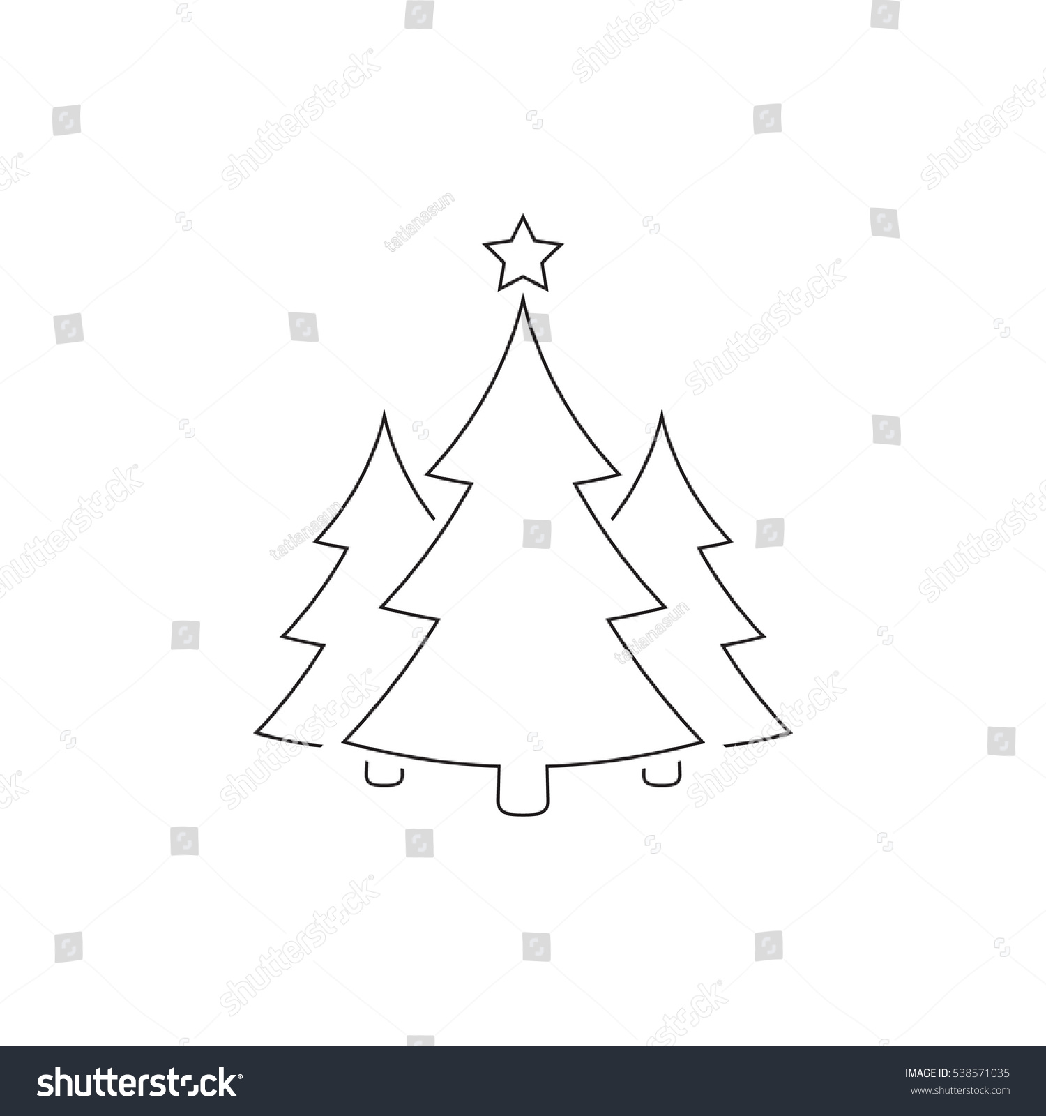 Christmas Trees Outline Icon Vector Simple Stock Vector ...