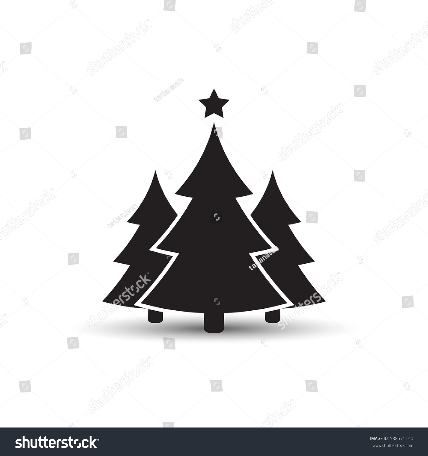 christmas trees icon vector simple design stock vector 538571140