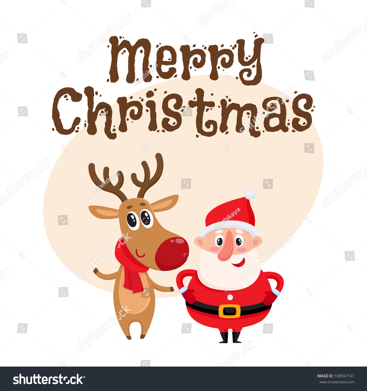 Merry christmas greeting card template funny stock photo photo merry christmas greeting card template with funny santa claus and reindeer in red scarf standing together m4hsunfo