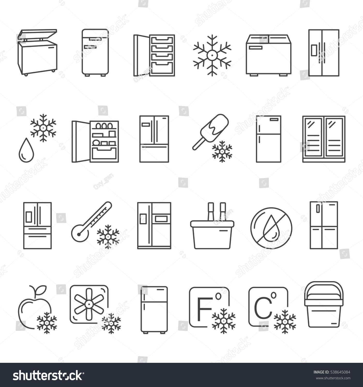 Outline fridge icons signs symbols set stock vector 538645084 outline fridge icons signs and symbols set kitchen appliances equipment freeze refrigerator buycottarizona Choice Image