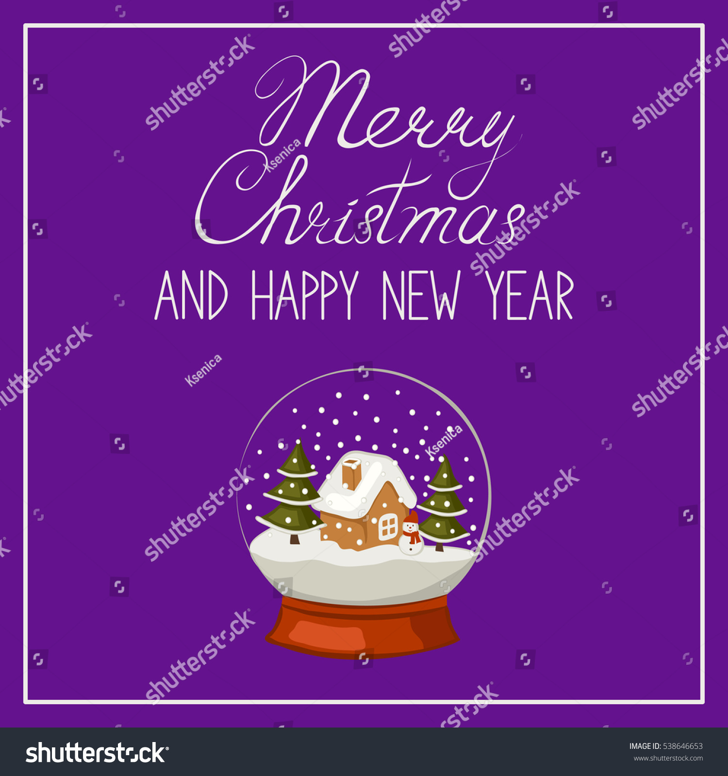 Merry Christmas and happy new year banner greeting card Calligraphic text and a snow globe Vector illustration