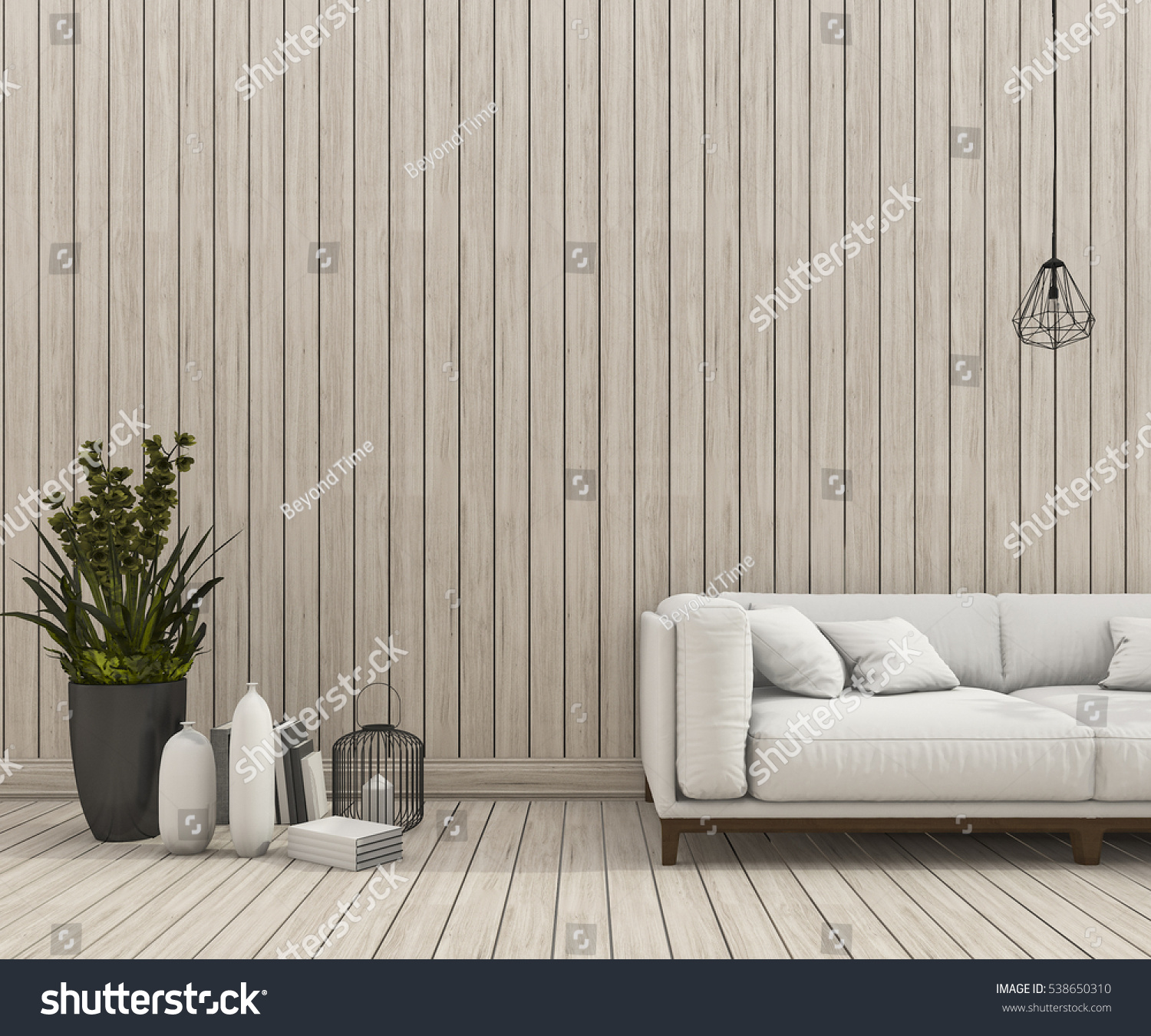 3d Rendering Minimal Sofa Scene With Nice Wood Wall