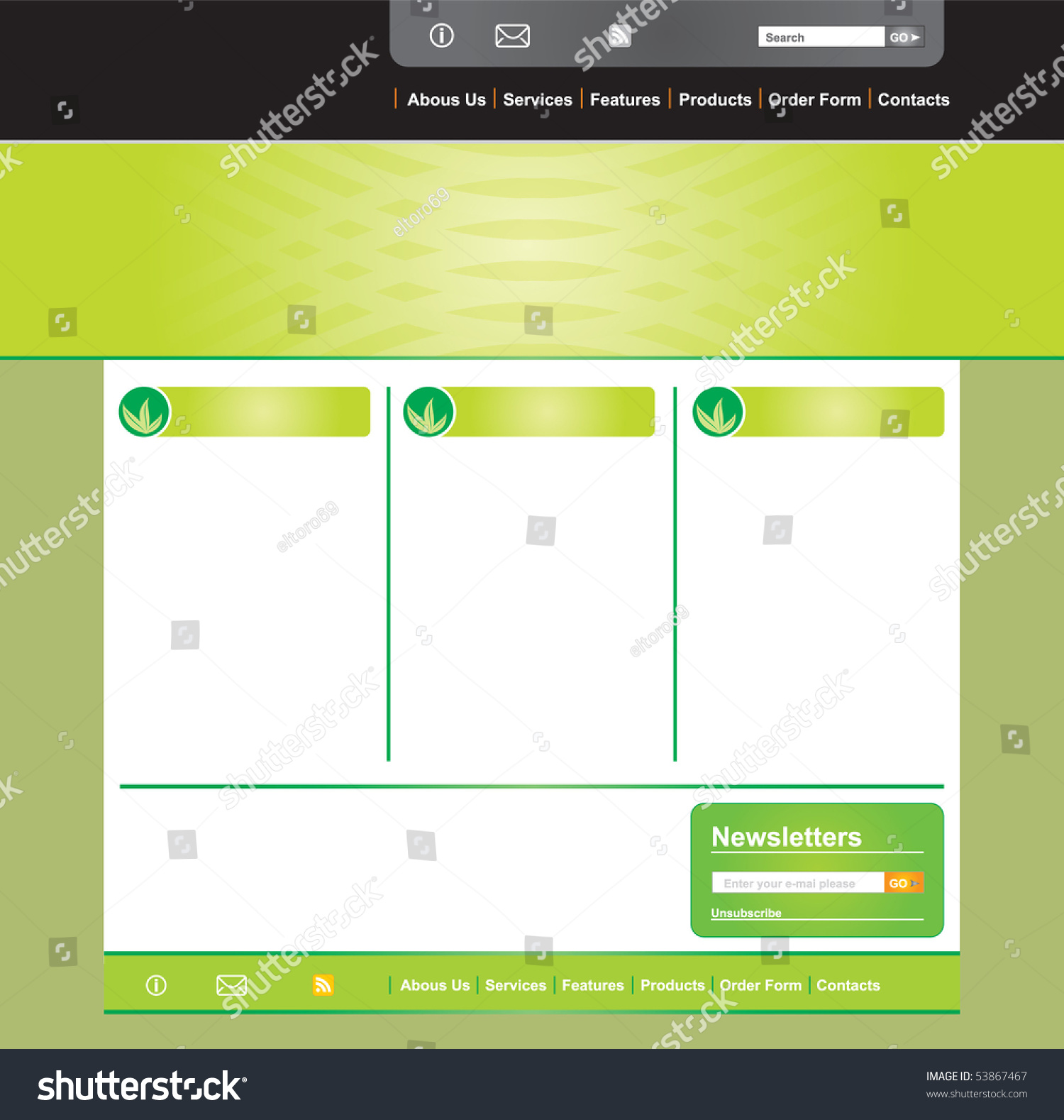 Concept Design Web Page Layout Template Stock Vector 53867467 ...