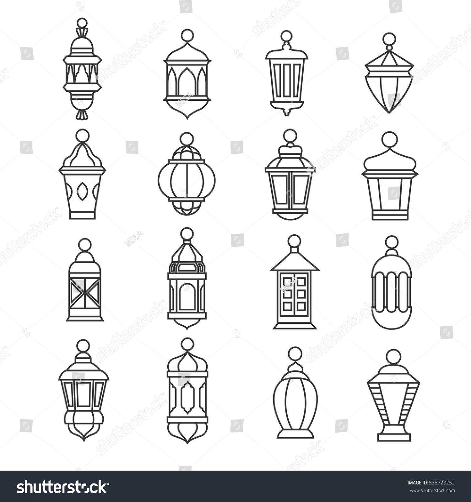 Ramadan Vintage Lantern Linear Icons Vector Stock Vector Royalty