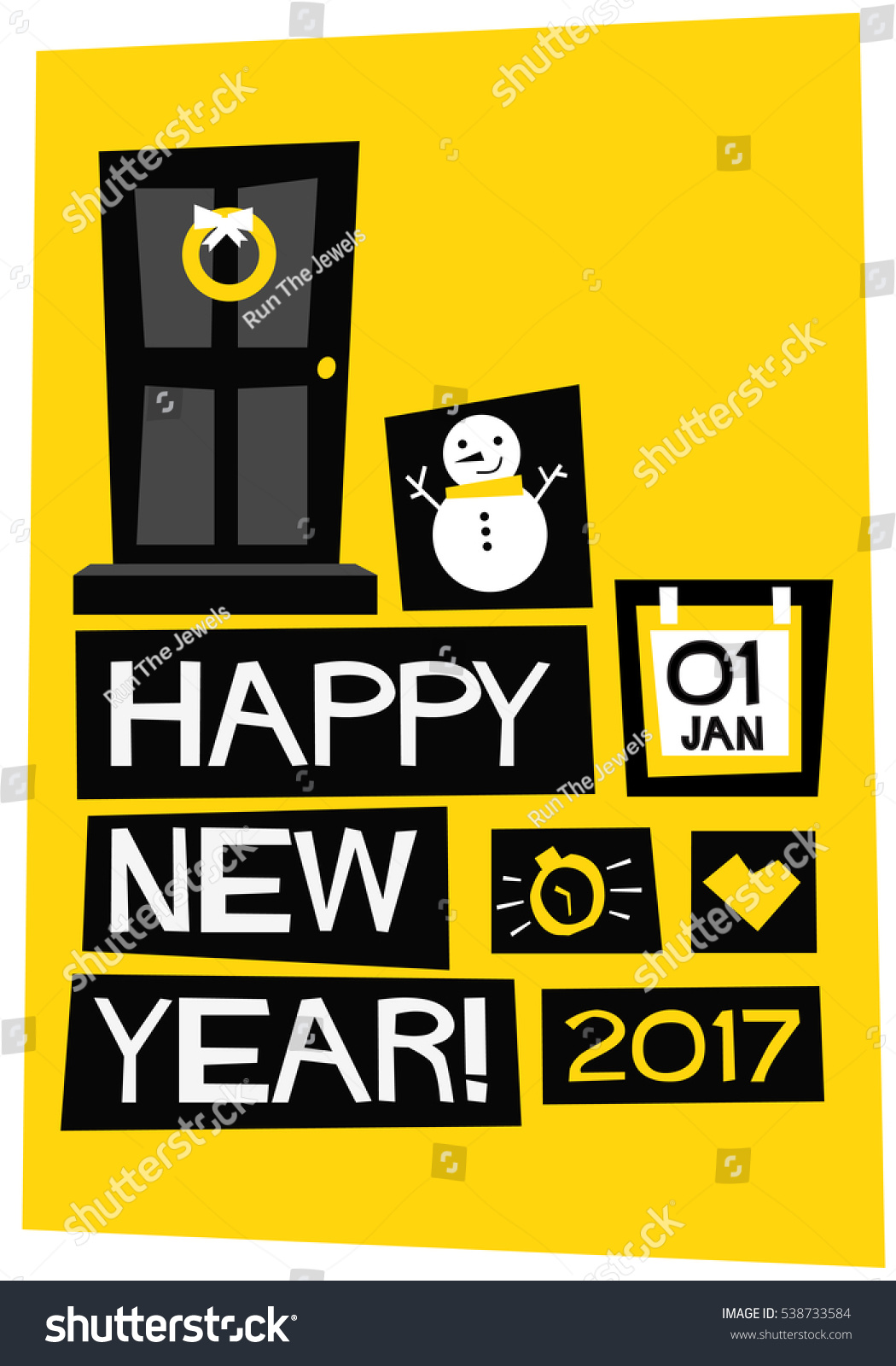happy new year 2017 01 january flat style vector illustration poster design