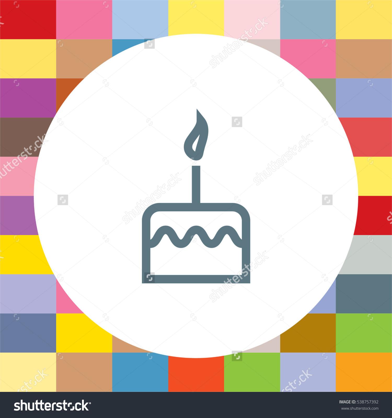 Birthday cake sign line vector icon. Cake icon. Sweet dessert sign ...