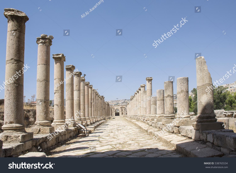 Romans ruins, Ancient Roman city of Jerash of Antiquity , modern Jerash, Jordan, columns street ruins