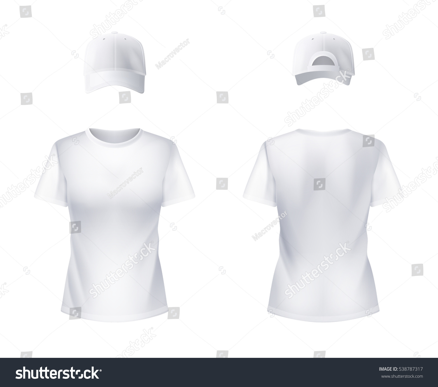 White t shirt for design - White T Shirt And Baseball Cap Front And Back Views Set Realistic Design For Women