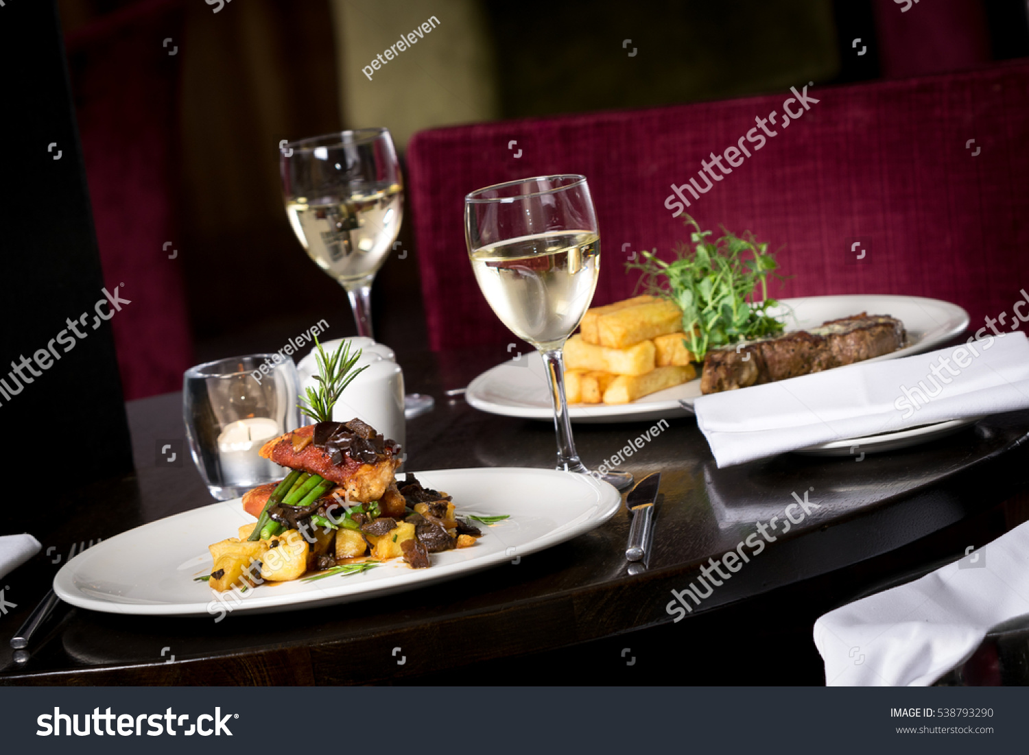 Restaurant table for two - Restaurant Table Set Up For Two Main Dish Entre Steak Fish Cuisine Fries Fine Dinning White