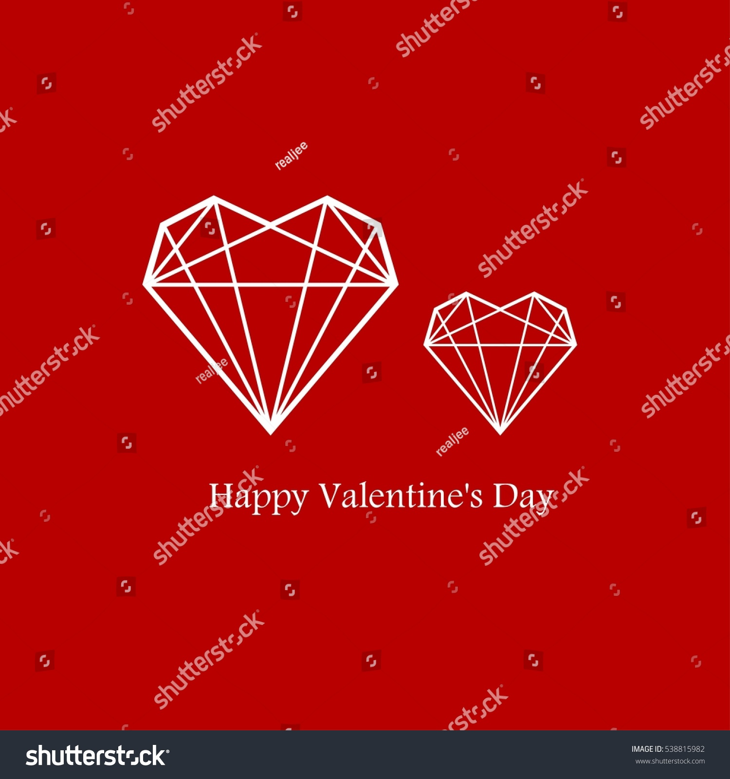 2 Hearts Geometry Shape Valentines Day Stock Vector Royalty Free