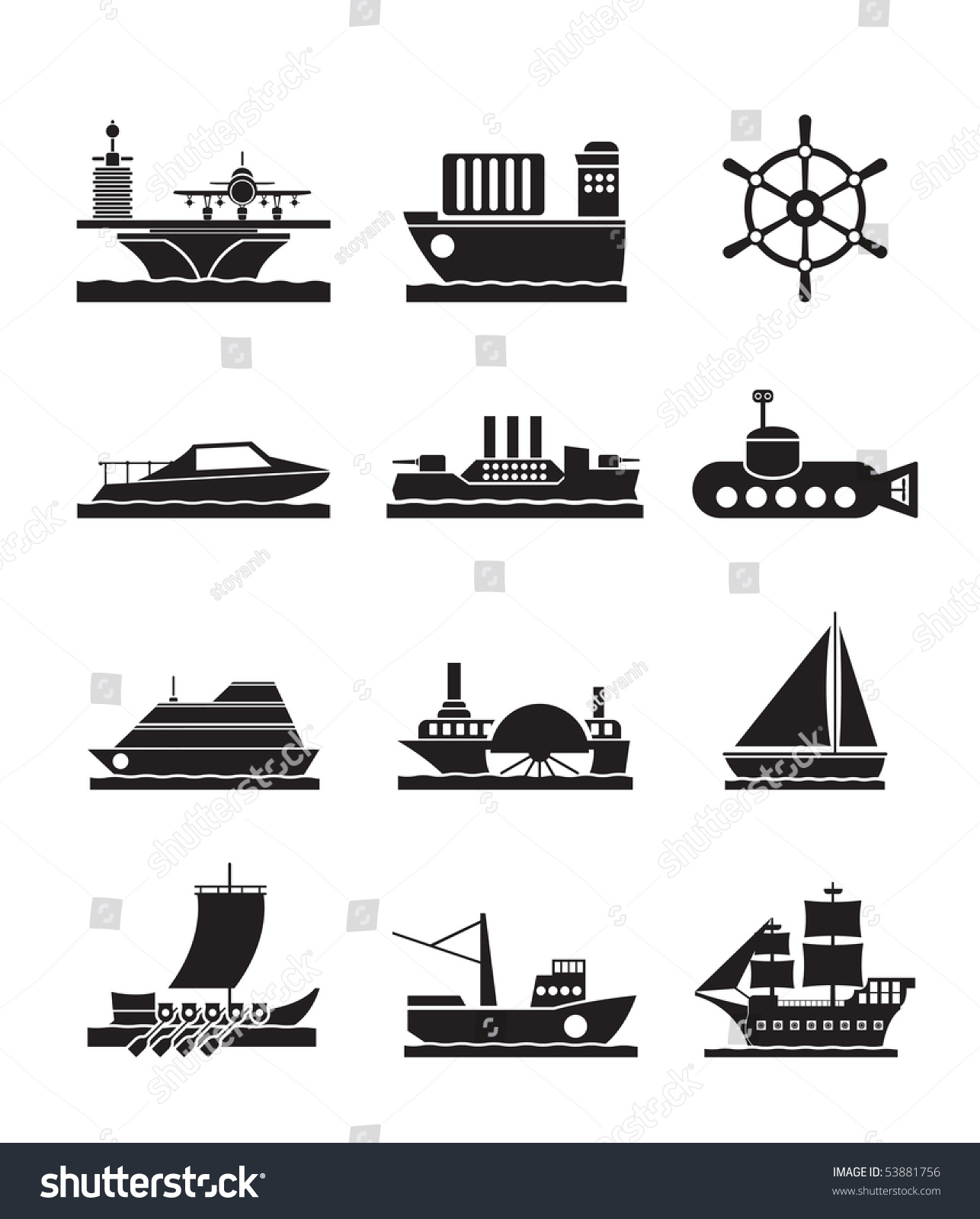Different Types Boat Ship Icons Vector Stock Vector 53881756 ...